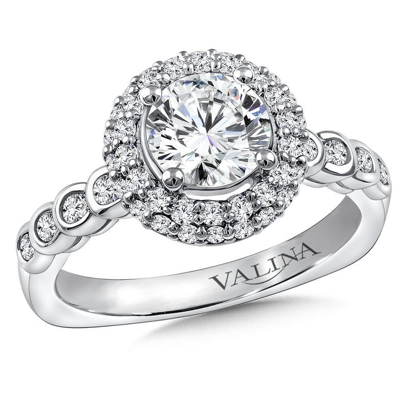 Valina Bridals Diamond Halo Engagement Ring Mounting in 14K White Gold (.56 ct. tw.)