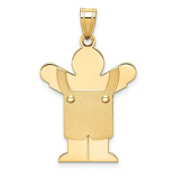 14k Solid Satin Engravable Boy w/Overalls Charm