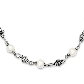 Sterling Silver 8-8.5mm FW Cultured Pearl 20in Necklace