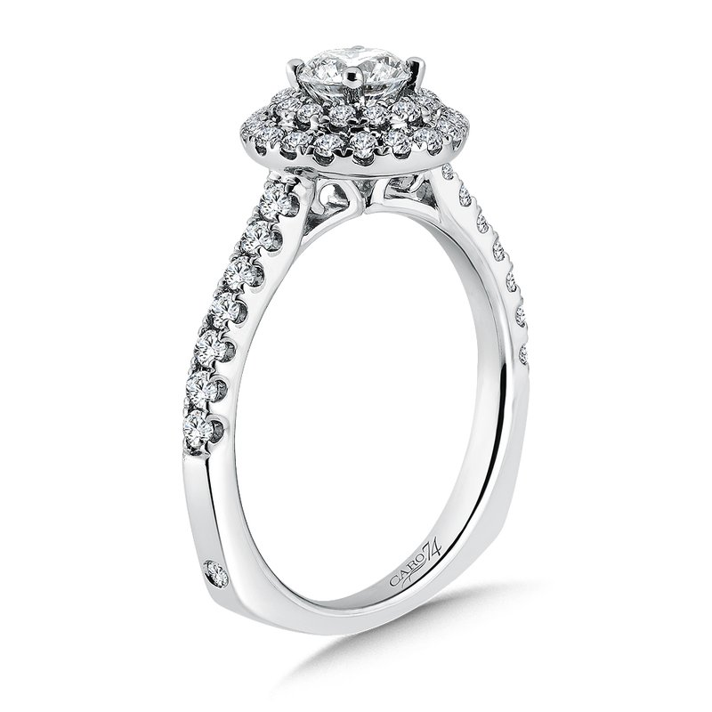 Caro74 Luxury Collection Halo Engagement Ring in 14K White Gold (1/2ct. tw.)