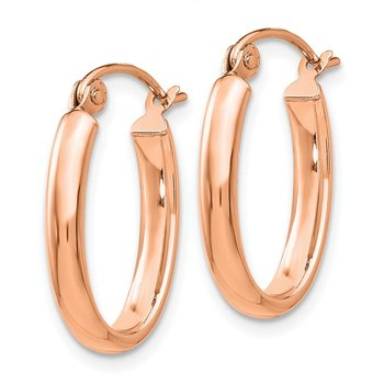 14k Rose Gold Polished Half-Round Oval Hoop Earrings
