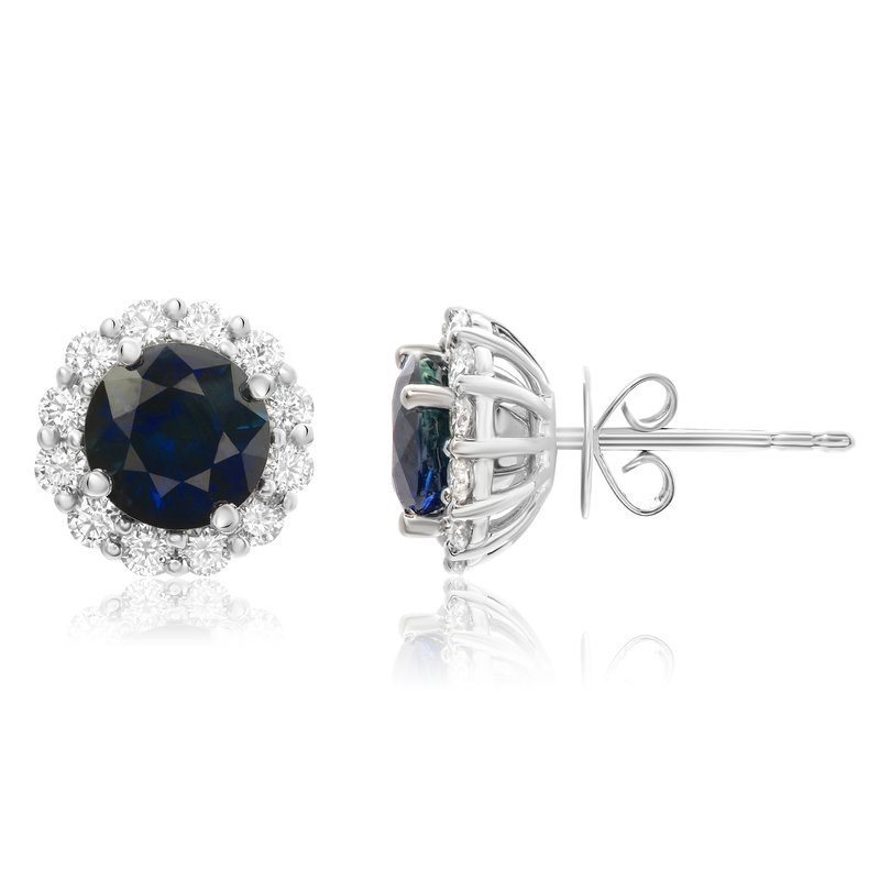 Roman & Jules Round Cut Sapphire Halo Stud Earrings