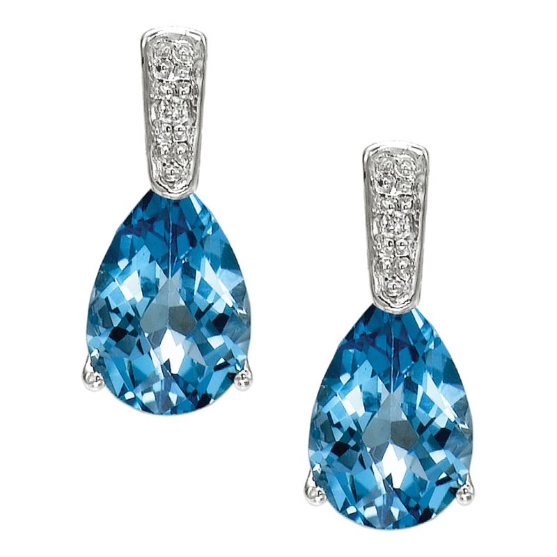 Color Merchants 14k White Gold Pear Blue Topaz and Diamond Earrings