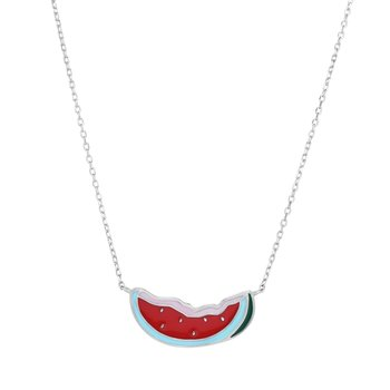 Silver Enamel Watermelon Necklace