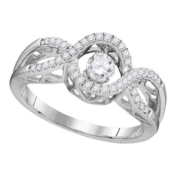 10kt White Gold Womens Round Diamond Twinkle Moving Solitaire Ring 1/4 Cttw