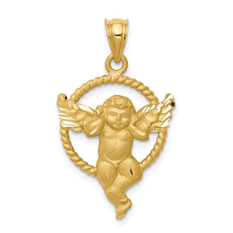 Quality Gold 14k Satin Angel in Circle Pendant