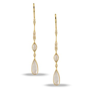 White Orchid Diamond Dangle Earrings 18KY