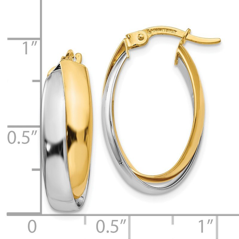 Leslie's Leslie's 14K Two-tone Polished Double Oval Hoop Earrings