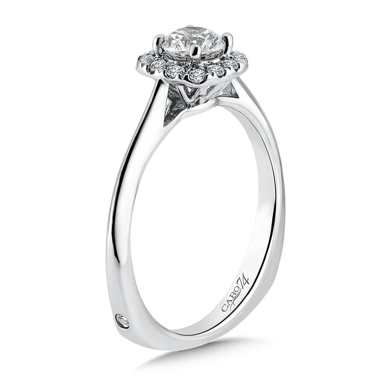 Caro74 Classic Elegance Collection Halo Engagement Ring in 14K White Gold (1/2ct. tw.)