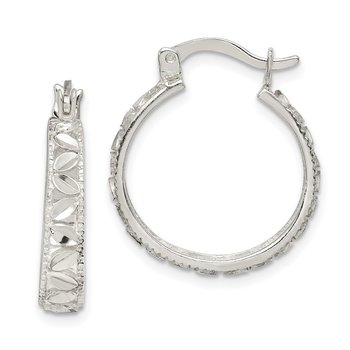 Sterling Silver Diamond Cut Round Hoop Earrings