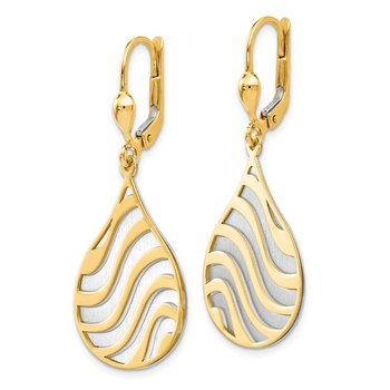 Leslie's 14k Two-tone Polished and Brushed Leverback Earrings