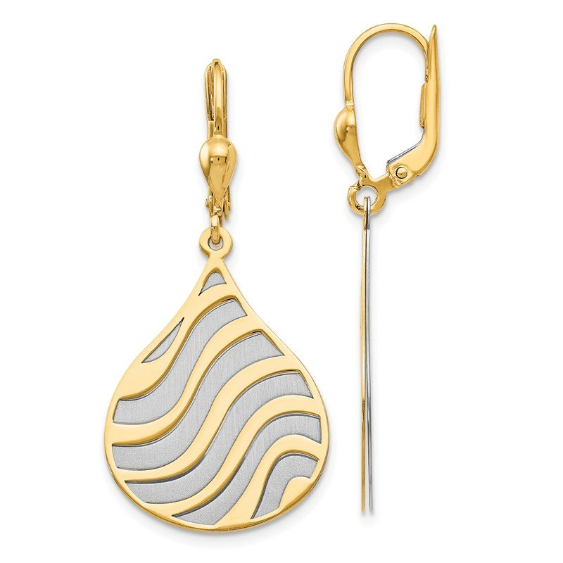 Leslie's Leslie's 14k Two-tone Polished and Brushed Leverback Earrings