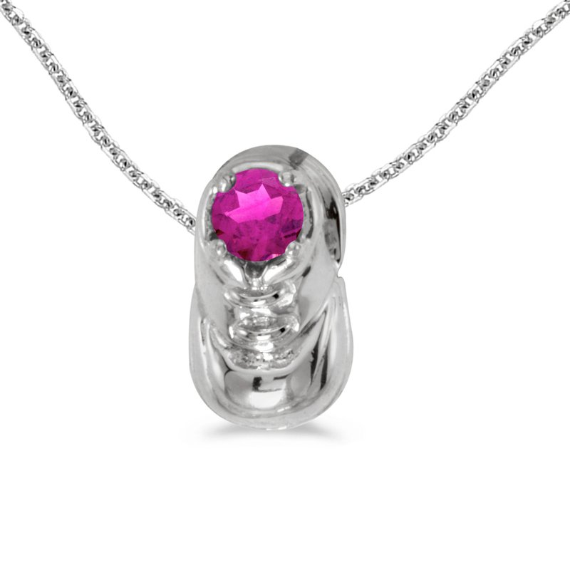 Color Merchants 14k White Gold Round Pink Topaz Baby Bootie Pendant