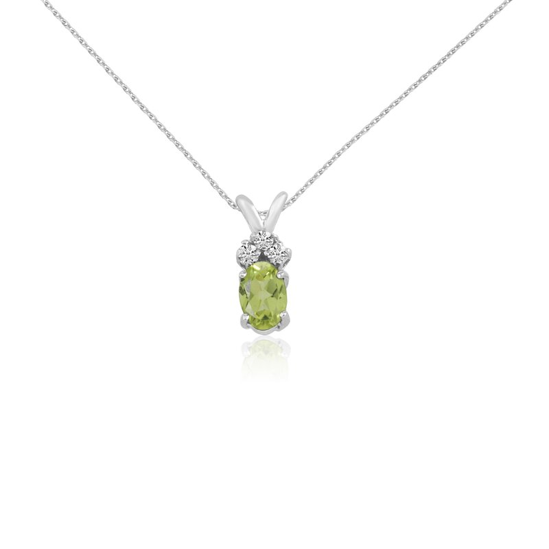 Color Merchants 14K White Gold Oval Peridot Pendant with Diamonds