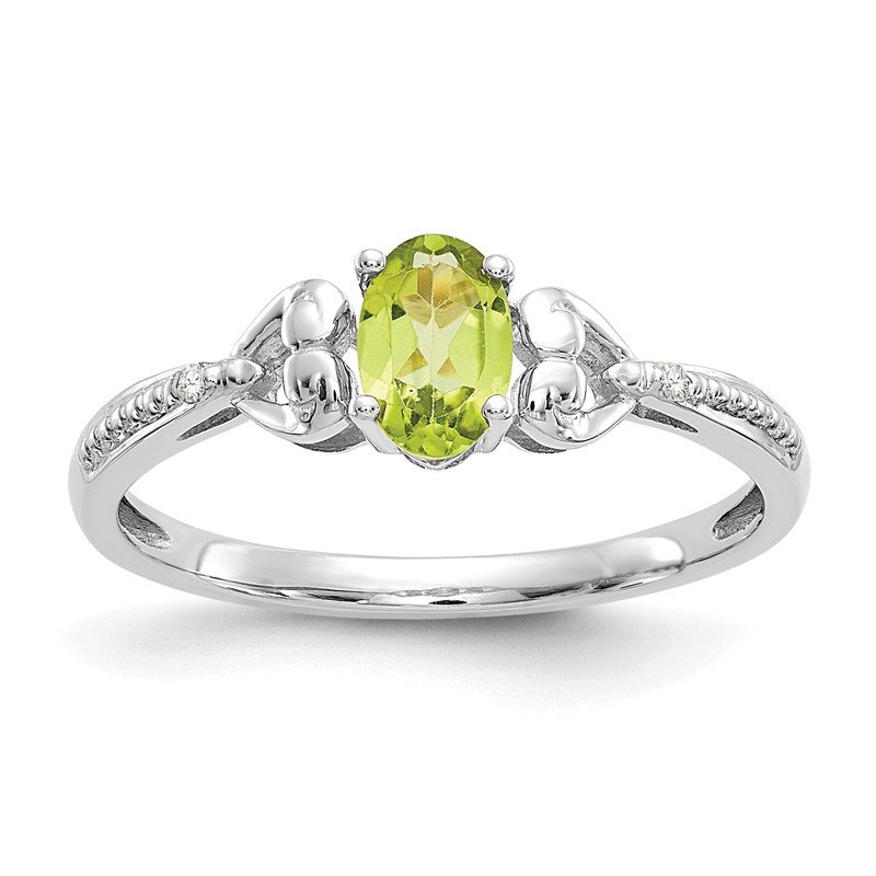 Quality Gold 10k White Gold Peridot and Diamond Ring