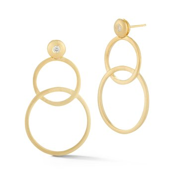 14KY OPEN CIRCLE LINKED EARRINGS .14CT