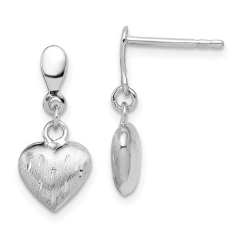 Sterling Silver Rhodium Plated 3-D Scratch Heart Post Earrings