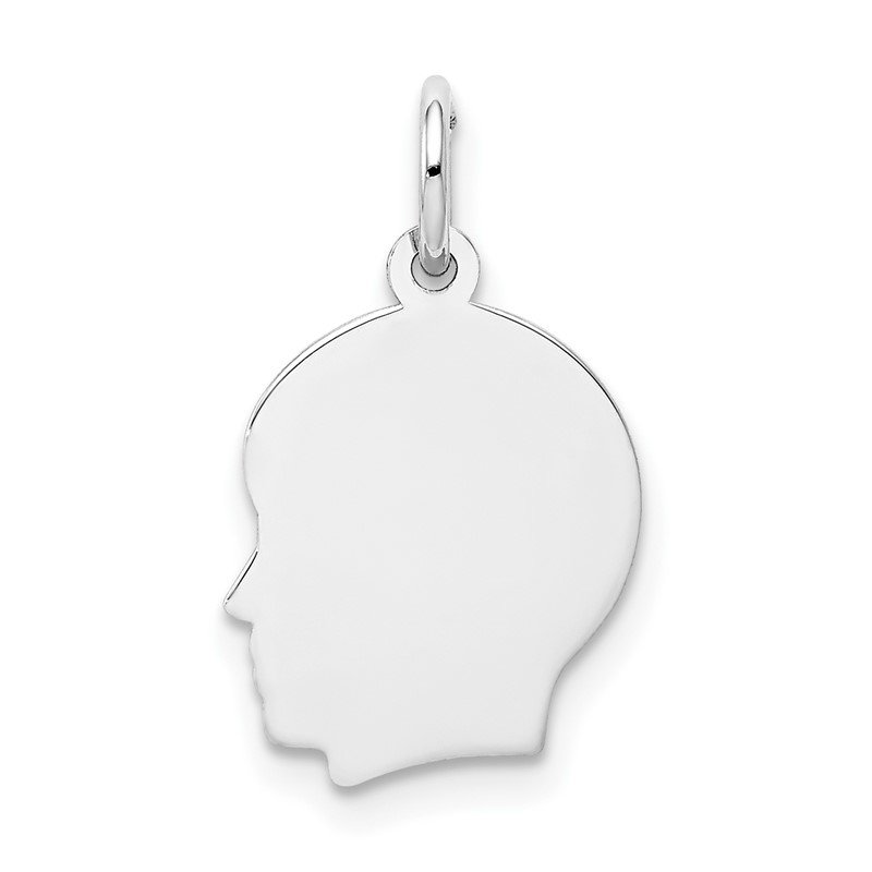 Lester Martin Online Collection 14k White Plain Small.011 Depth Facing Left Engravable Boy Charm