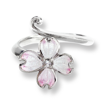 Sterling Silver Dogwood Ring-White.  Diamonds.