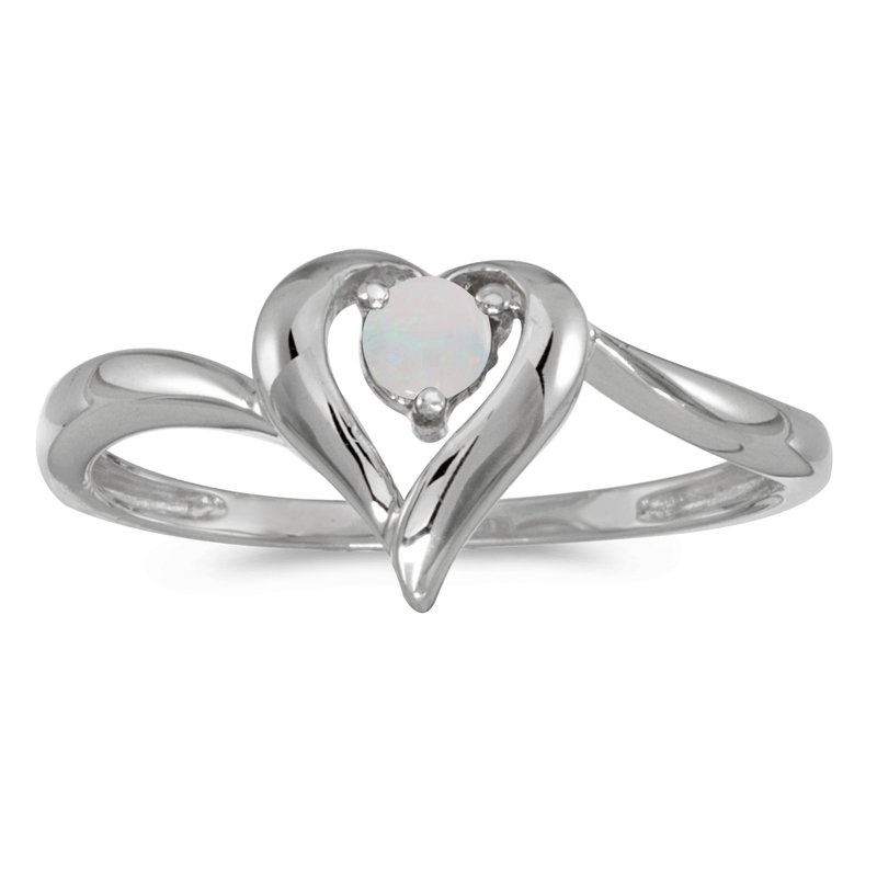 Color Merchants 10k White Gold Round Opal Heart Ring