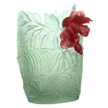 Large light green & red hibiscus oval vase