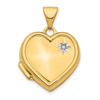 14K w/ White Rhodium Diamond 16mm Heart Locket Pendant