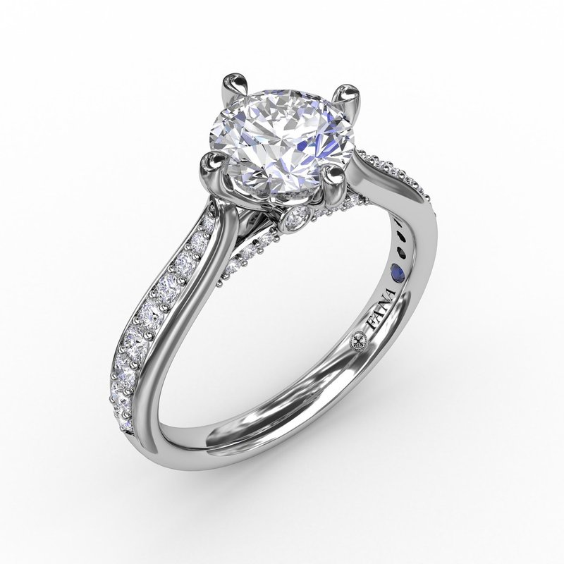 Fana Contemporary Diamond Solitaire Engagement Ring With Tapered Diamond Band
