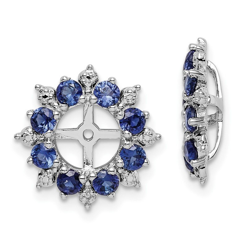 Sterling Silver Rhodium Diam. & Created Sapphire Earring Jacket