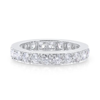 Platinum Bead Set Round Diamond Eternity Band