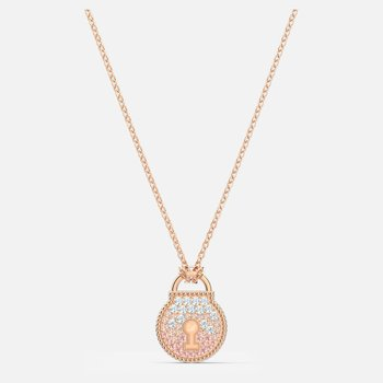 Togetherness Lock Necklace, Pink, Rose-gold tone plated