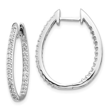 14k White Gold In/Out Diamond Hinged Hoop Earrings