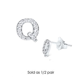 "Diamond Single Initial ""Q"" Stud Earring (1/2 pair)"