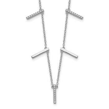 Sterling Silver Rhodium-plated CZ Vertical Bars w/2in ext Necklace