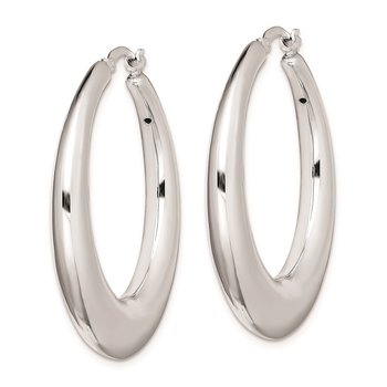 Sterling Silver Polished Rhodium Plated Hollow Hoop Earrings