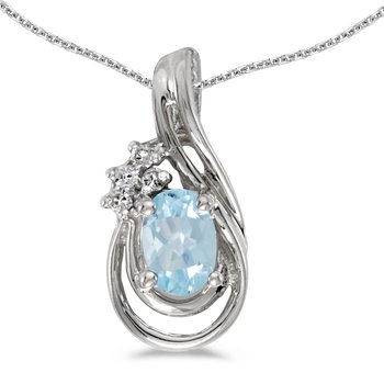 10k White Gold Oval Aquamarine And Diamond Teardrop Pendant