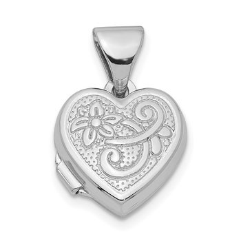 Sterling Silver Rhodium-plated Scrolled Heart Locket