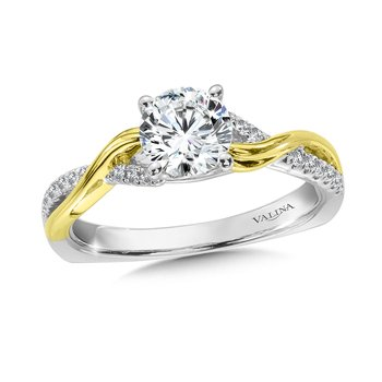 Diamond Engagement Ring Mounting in 14K White/Yellow Gold (.12 ct. tw.)
