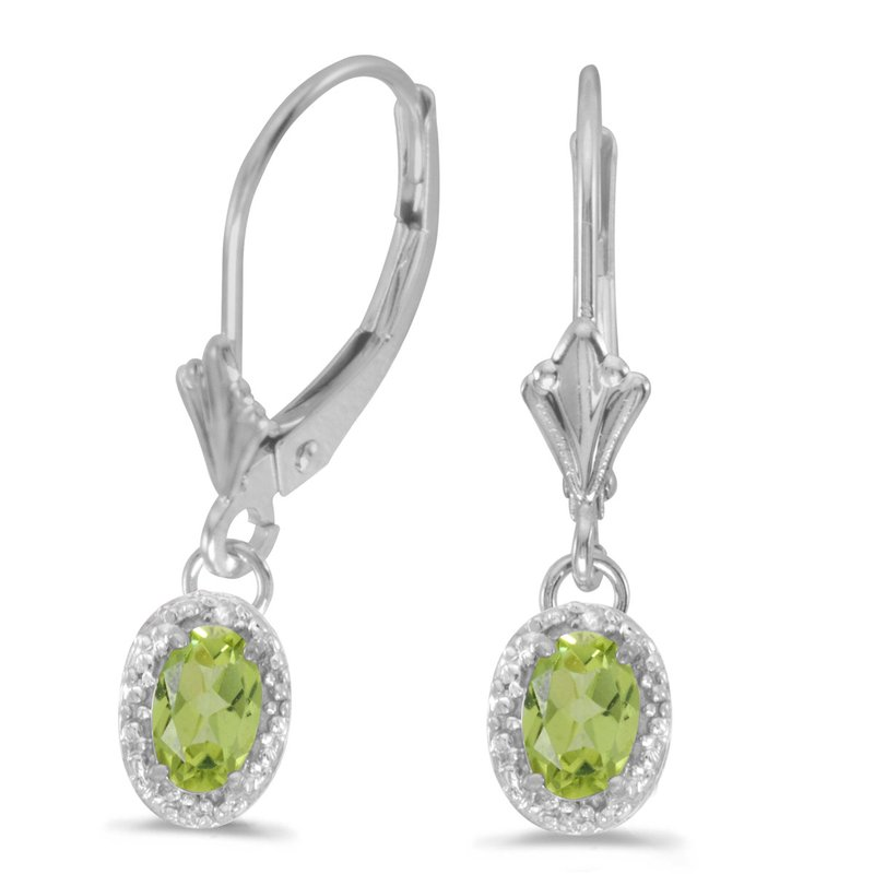 Color Merchants 14k White Gold Oval Peridot And Diamond Leverback Earrings