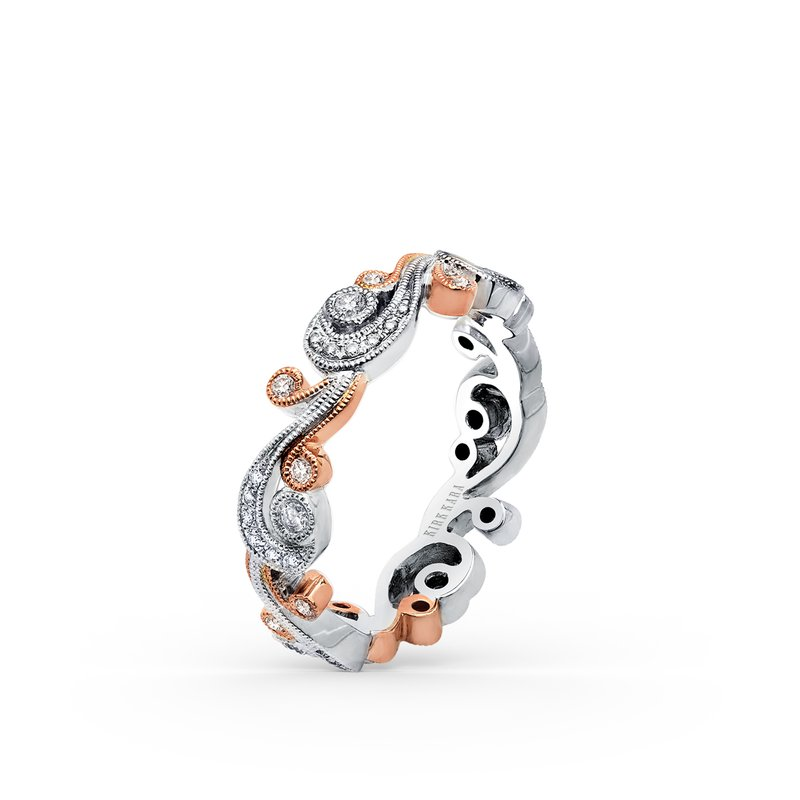 Two-Tone Diamond Milgrain Swirl Wedding Band