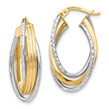 Leslie's 14K Two-tone Polished D/C Hoop Earrings