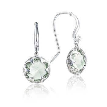 Crescent Drop Earrings featuring Prasiolite