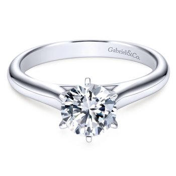 14k White Gold European Shank Solitaire Engagement Ring