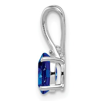 Sterling Silver Rhodium Plated Diamond and Sapphire Oval Pendant