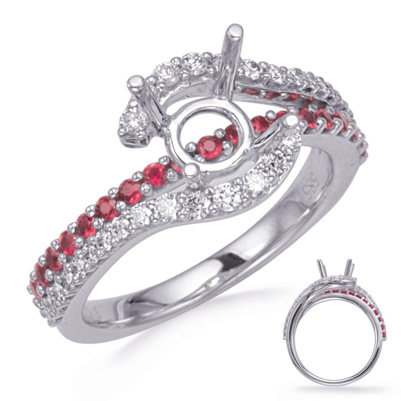 White Gold Ruby& Diamond Engagement