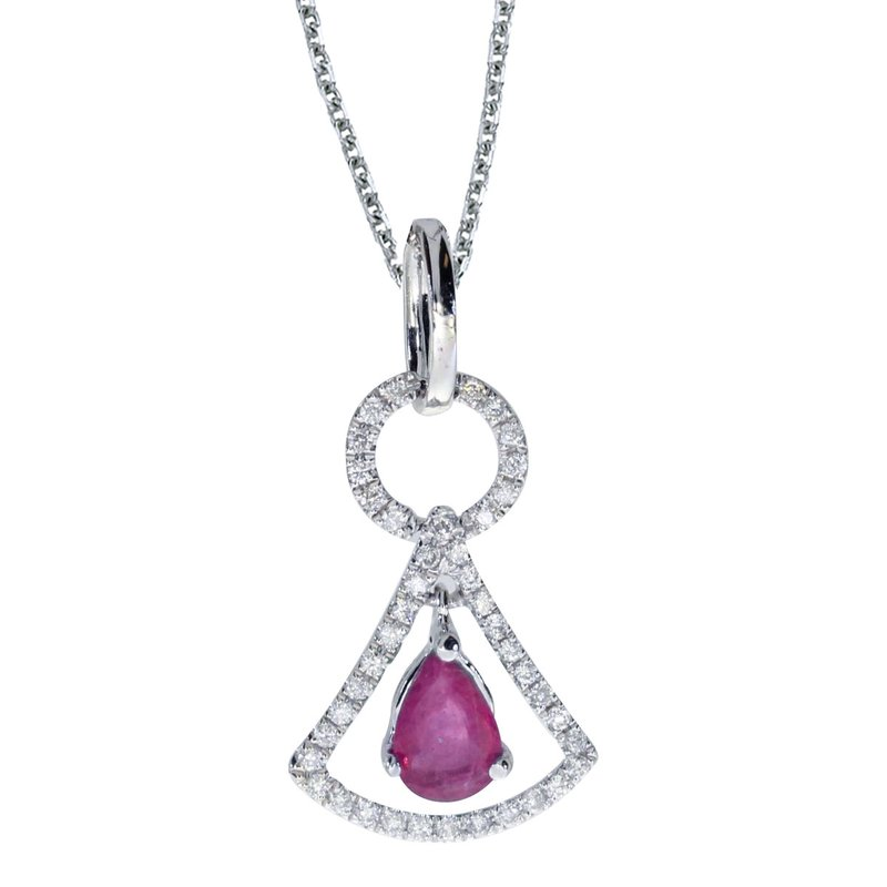 14k White Gold Ruby and .16 ct Diamond Pendant