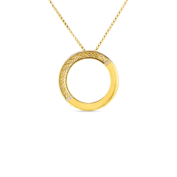 18Kt Gold Mesh Circle Pendant With Diamonds