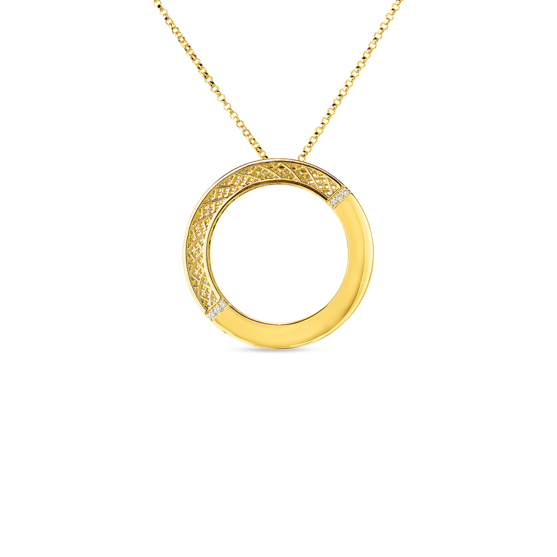 Roberto Coin 18Kt Gold Mesh Circle Pendant With Diamonds