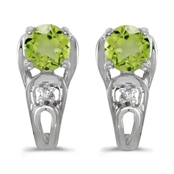14k White Gold Round Peridot And Diamond Earrings