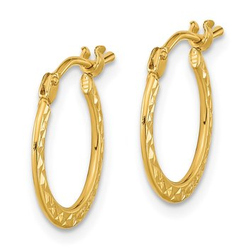 14k Gold Polished and Diamond-cut Hoop Earrings