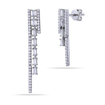 14K Long & Short Diamond Earrings with Round & Baguette Diamonds 0.72C T.W.